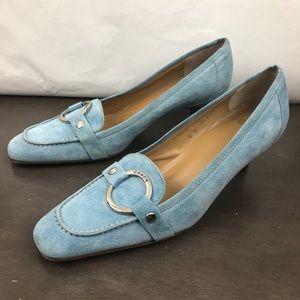 Coach Shelly Light Blue Suede Low Heels